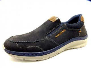 RIEKER BLAU COMB Schuhe RIEKER Herren Slipper (Gummisohle) blau violett BLAU COMB 14782002 Weichfußbett herausnehmb. Formgummisohle mit Gummizug