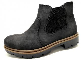 RIEKER BLACK Schuhe RIEKER Stieflette flach (ChelsWestern) schwarz BLACK 26604037 Weichfußbett weiche Leicht Cell Sohle mit Gummizug Nubuk