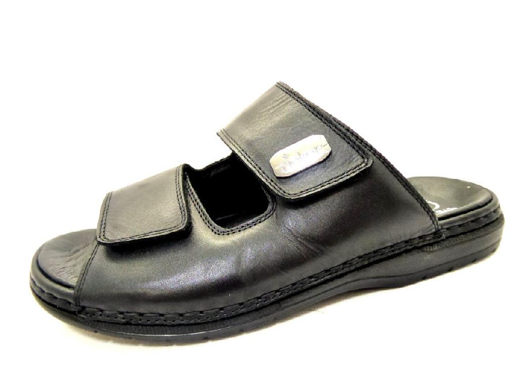 912f082bd1d0 RIEKER SCHWARZ LEDER Schuhe RIEKER Herren Pantoletten (Gummisohle ...