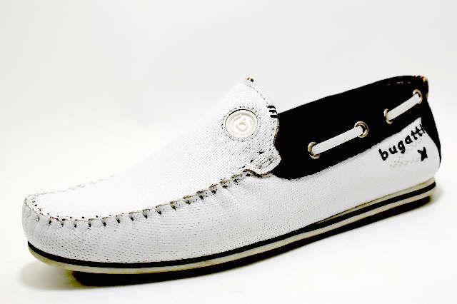 BUGATTI 2041 WHITE BLUE Schuhe BUGATTI Herren Slipper modisch weiß ... a85267051e