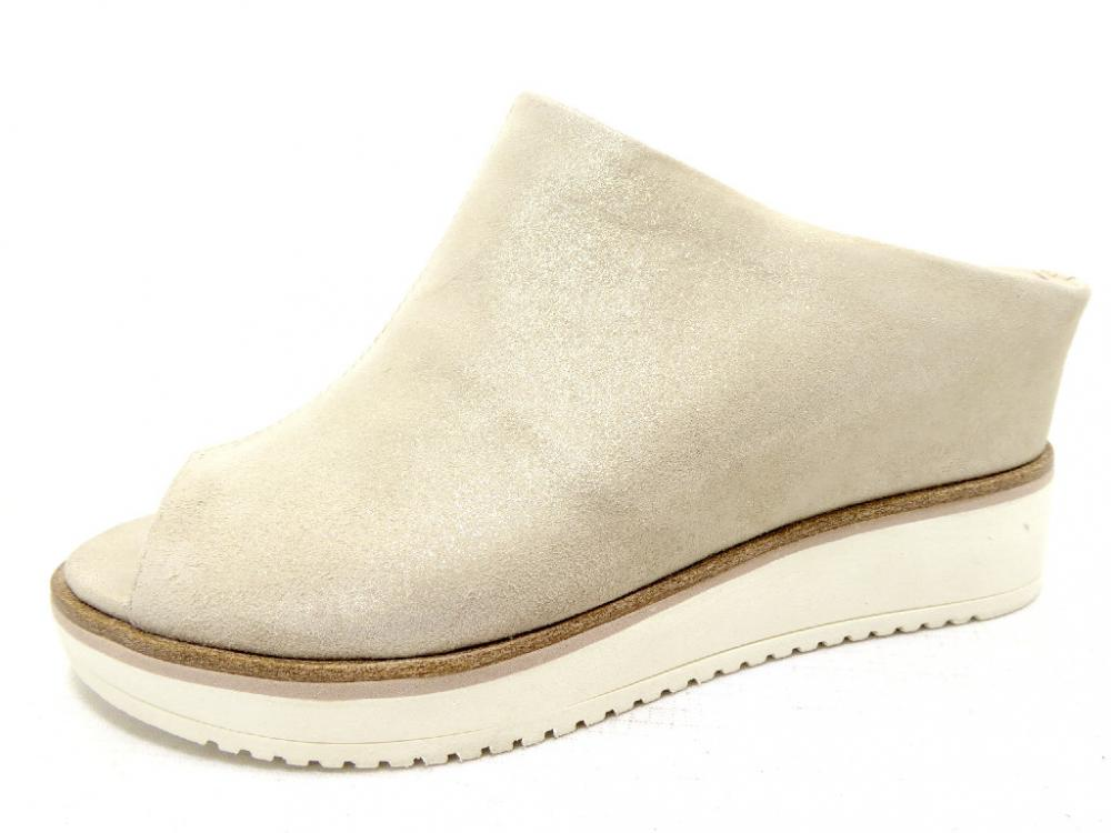 19741fbc250c53 TAMARIS 192 CHAMPAGNE Schuhe TAMARIS Pantoletten Keil grau silber ...